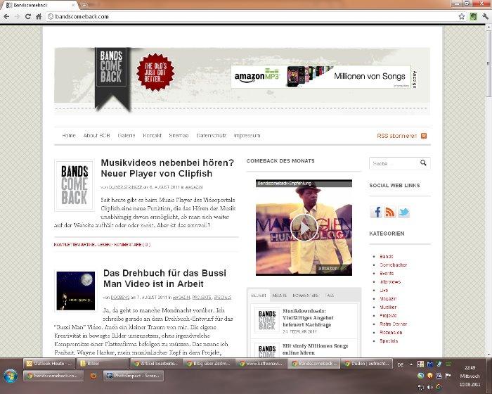 So sieht bandscomeback.com heute aus.