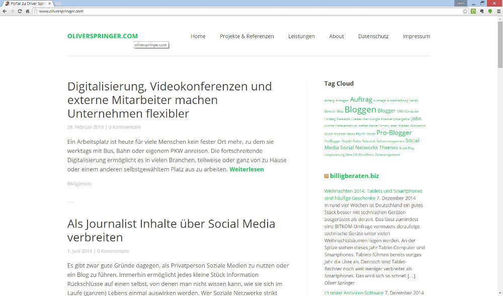 So sah mein Blog Ende Februar 2015 aus | Screenshot: Redaktion